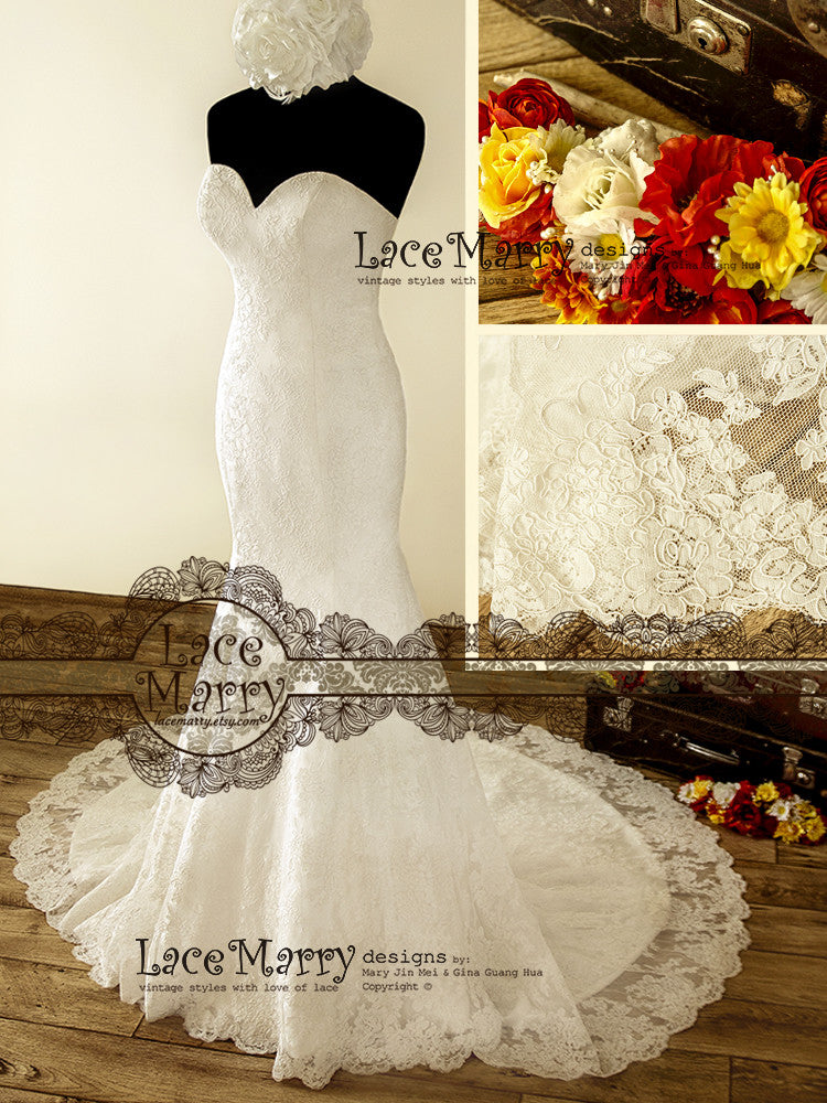 Double layer lace wedding dress in trumpet style lacemarry trumpet style wedding dress with double layer lace junglespirit Images