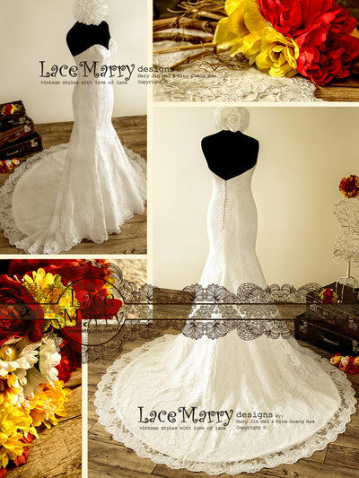 Gorgeous Lace Wedding Dress with Cathedral Length Train