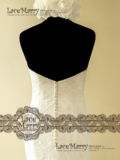 Lowered V back Wedding Dress with Buttons
