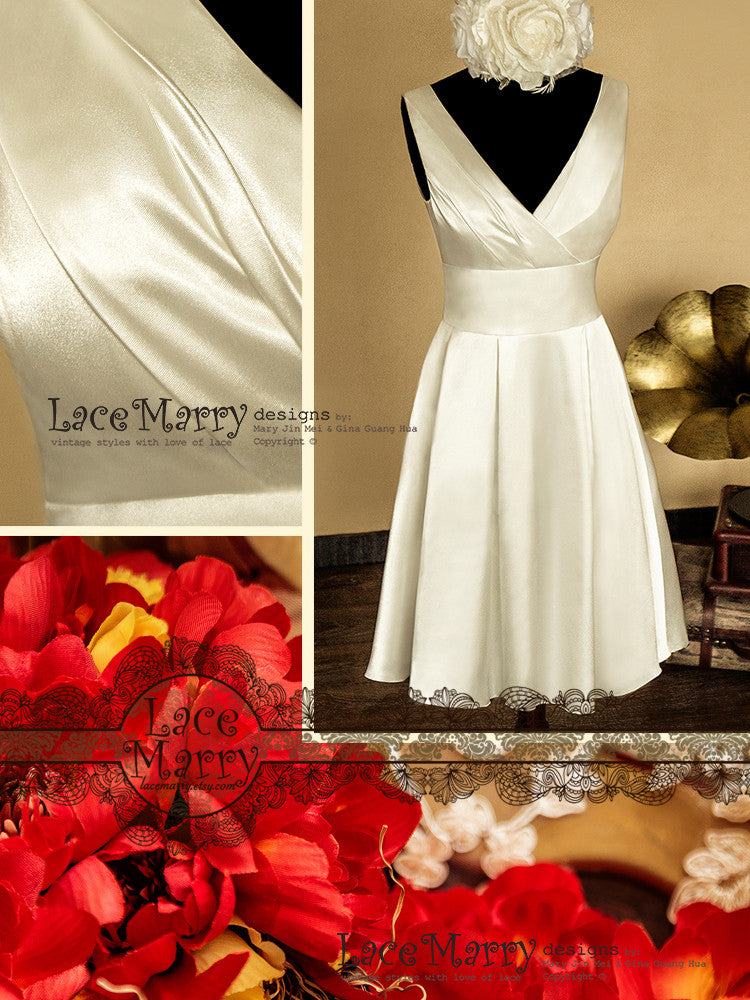 Short Wedding Dress from Satin Material