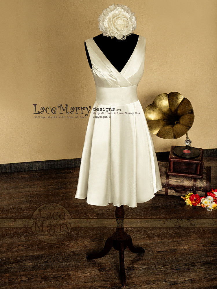 50s Inspired Knee Length Satin Wedding Dress