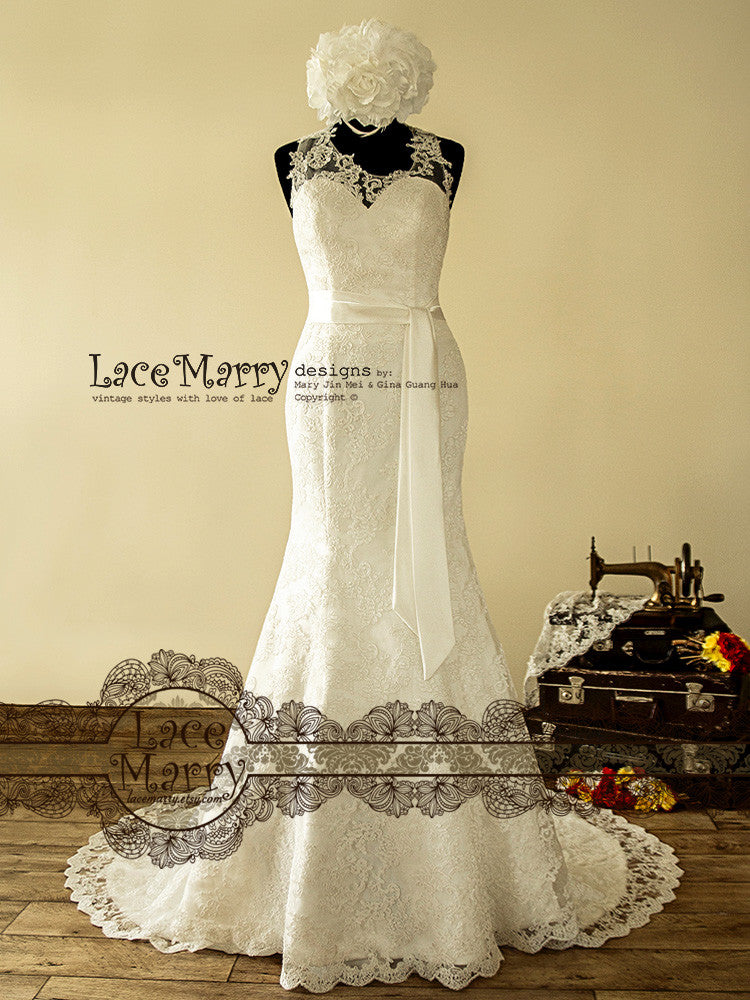 Extraordinary Asymmetric Illusion Neckline Lace Wedding Dress with Chapel Train Featuring Spaghetti Straps Across V-Cut Back and Satin Sash