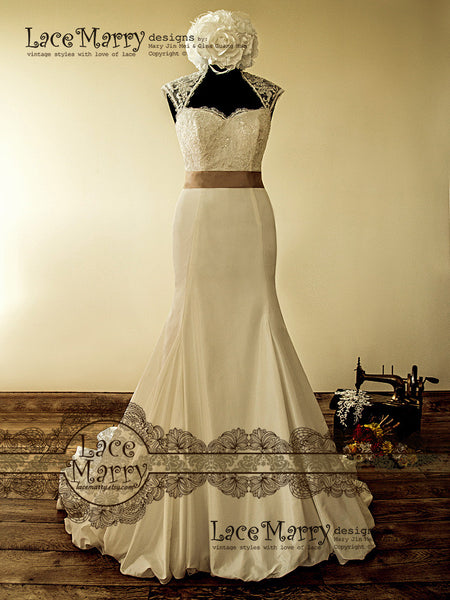 Gorgeous Wedding Dress with Beaded Bust and Taffeta Skirt