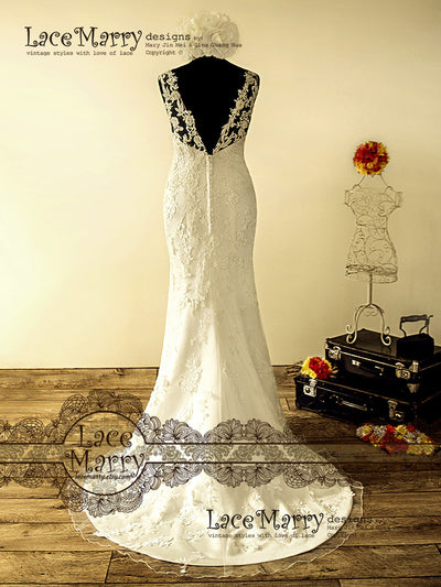 V Cut Back Sexy and Elegant Wedding Dress with Beadwork