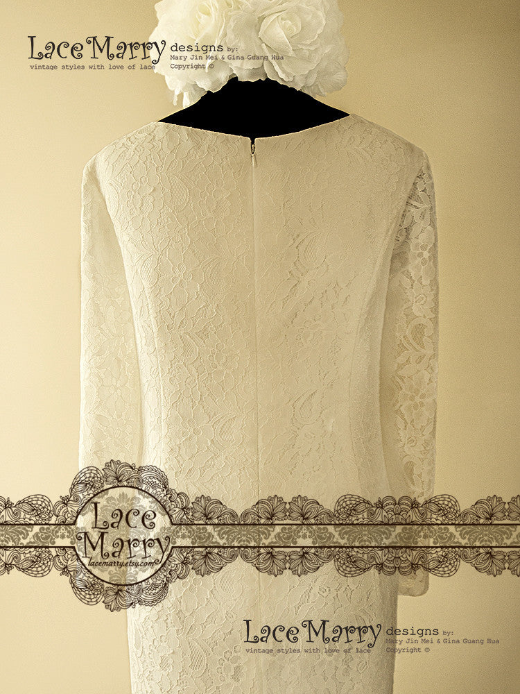 Lined Lace Sleeves Wedding Gown
