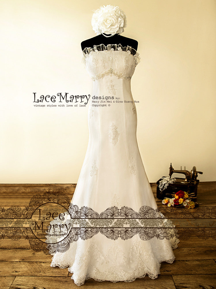 French Princess Style Lace Wedding Dress - LaceMarry