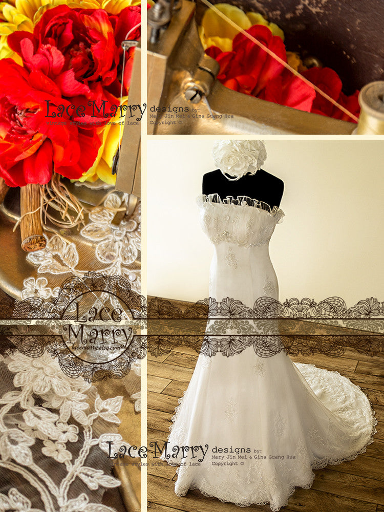 Frilled Strapless Neckline Wedding Dress