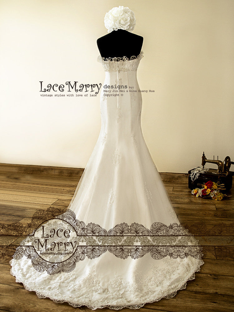 Court Train Trumpet Shape Strapless Wedding Dress