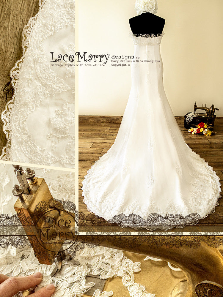 Handmade Lace Applique Wedding Dress