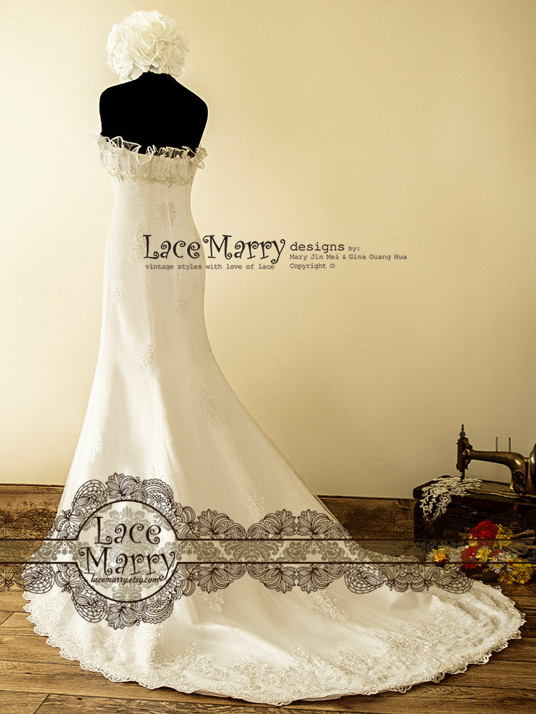 Court Train Lace Wedding Dress