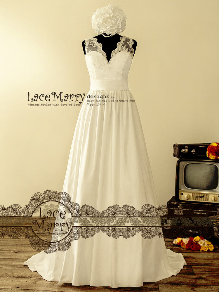 V Neckline Wedding Dress with Taffeta Wide A Line Skirt