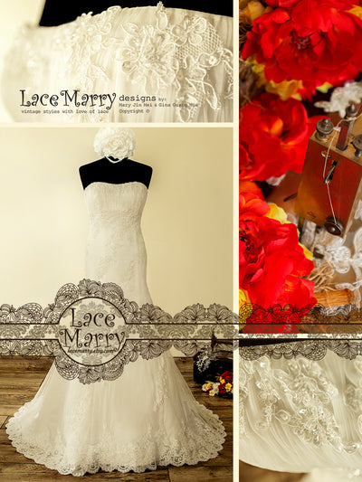 Strapless Classic Style Lace Wedding Dress