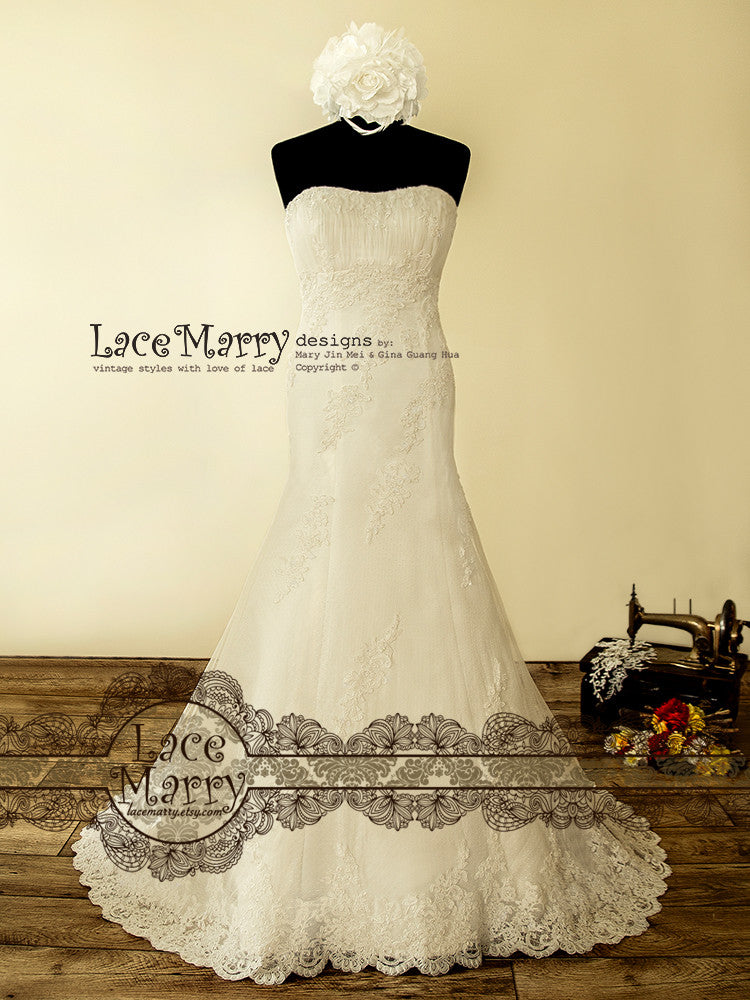 Fitted A Line Wedding Dress with Beading
