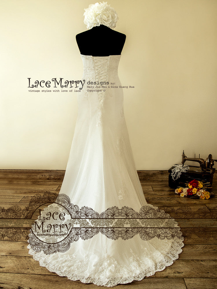 Lace Up Back Lace Applique Wedding Dress
