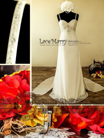 Chiffon Wedding Dress with Empire Waistline