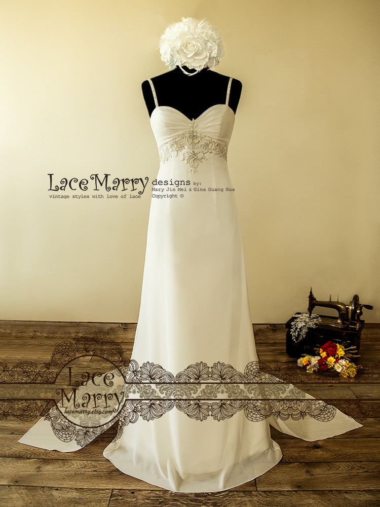 Light Chiffon Wedding Dress with Delicate Embroidery on the Empire Waist