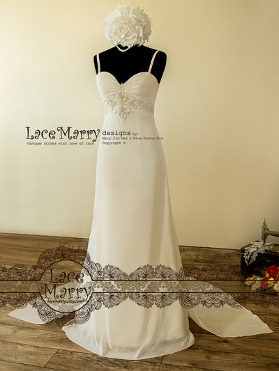 Chiffon Wedding Dress with Sweetheart Neckline