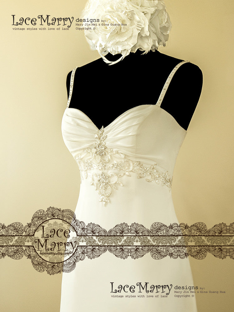 Embroidery Around the Empire Waist Wedding Dress