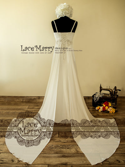 Wing Train Wedding Dress with Empire Waist Style
