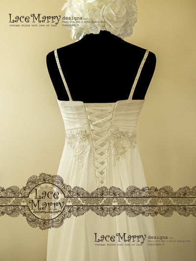 Lace up Back Greek Style Wedding Dress