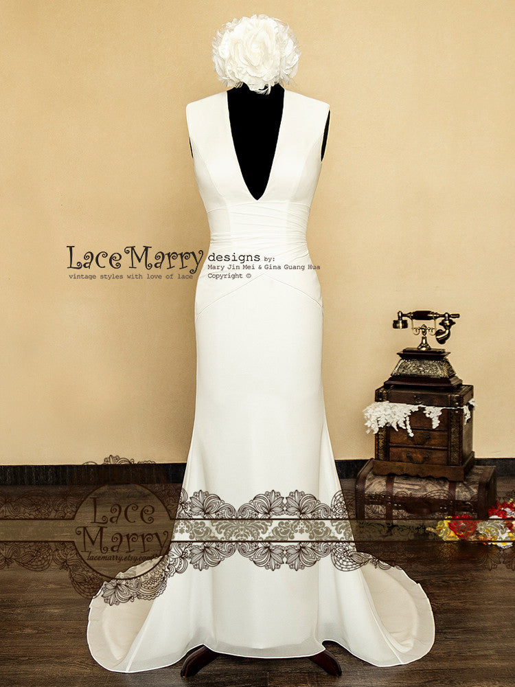 Modern Sexy Wedding Dress with Deep Neckline