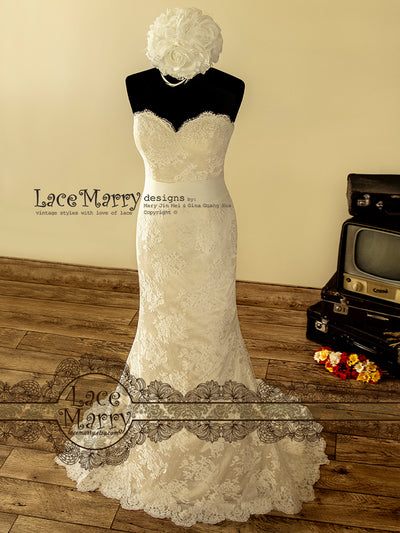 Strapless Lace Wedding Dress in Champagne Color