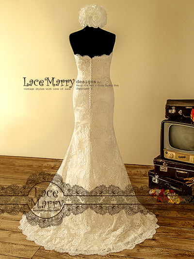 Slim Lace Wedding Dress in Dusty Gold Color