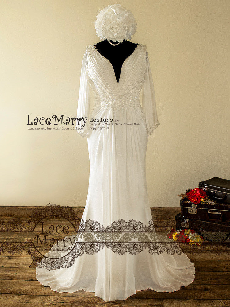 1900 Inspired Chiffon Wedding Dress