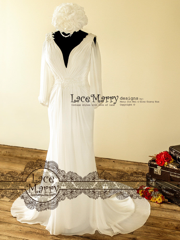 1900\'s Style Wedding Dress with Deep V Cut Neckline - LaceMarry