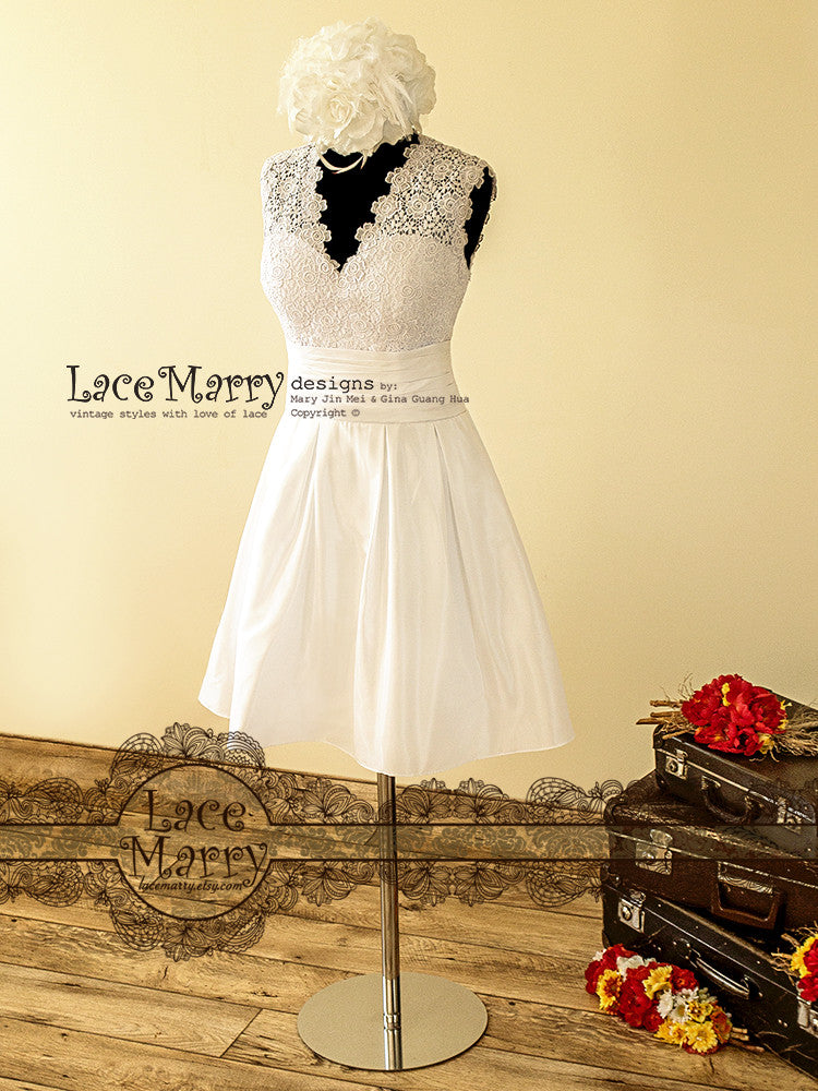 Venice Lace Short Wedding Dress