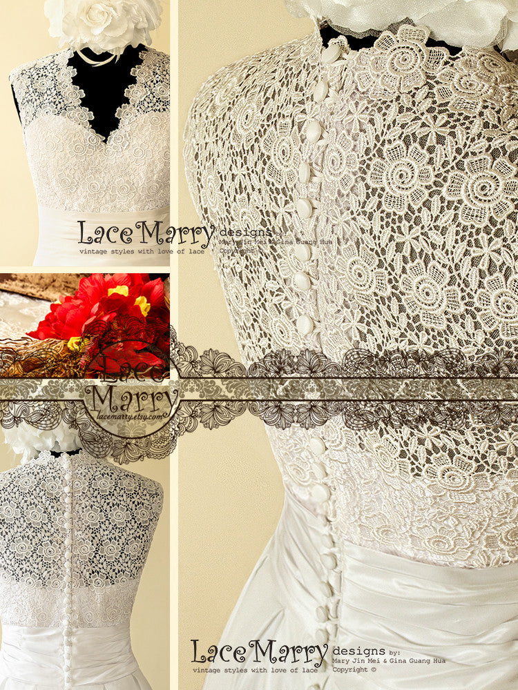 Delicate Venice Lace Wedding Dress in 50s Style