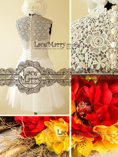Flower Pattern Venice Lace Wedding Dress