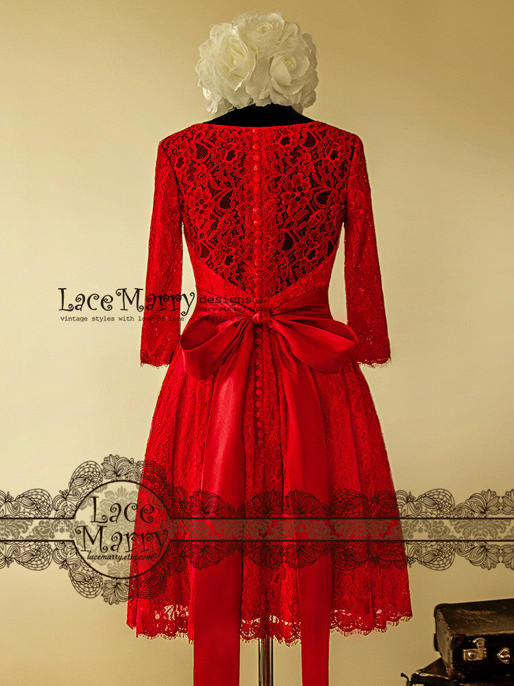 See Through Back Red Lace Wedding Dress in Knee Length