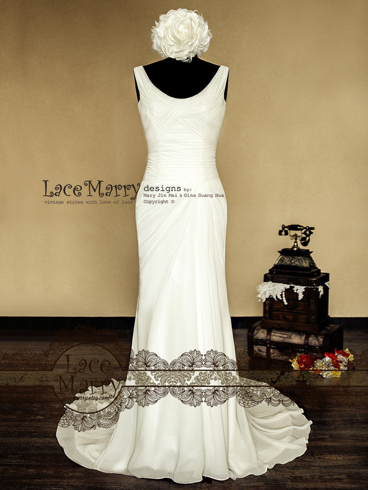Criss Cross Design Chiffon Wedding Dress with Scoop Neckline