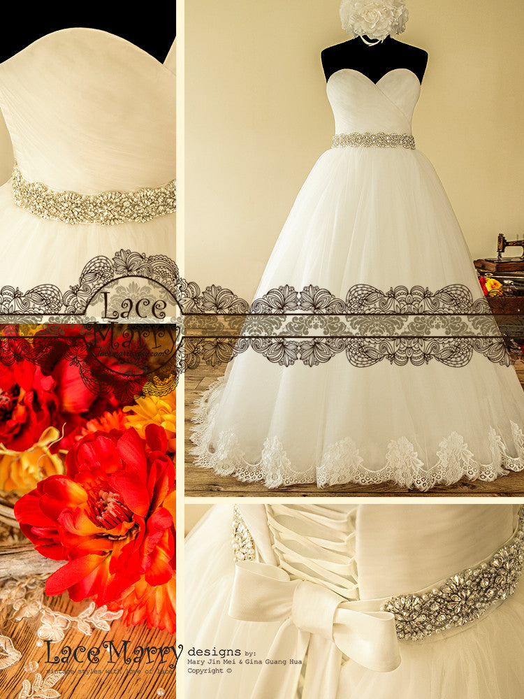 Ball Gown with Beaded Sash