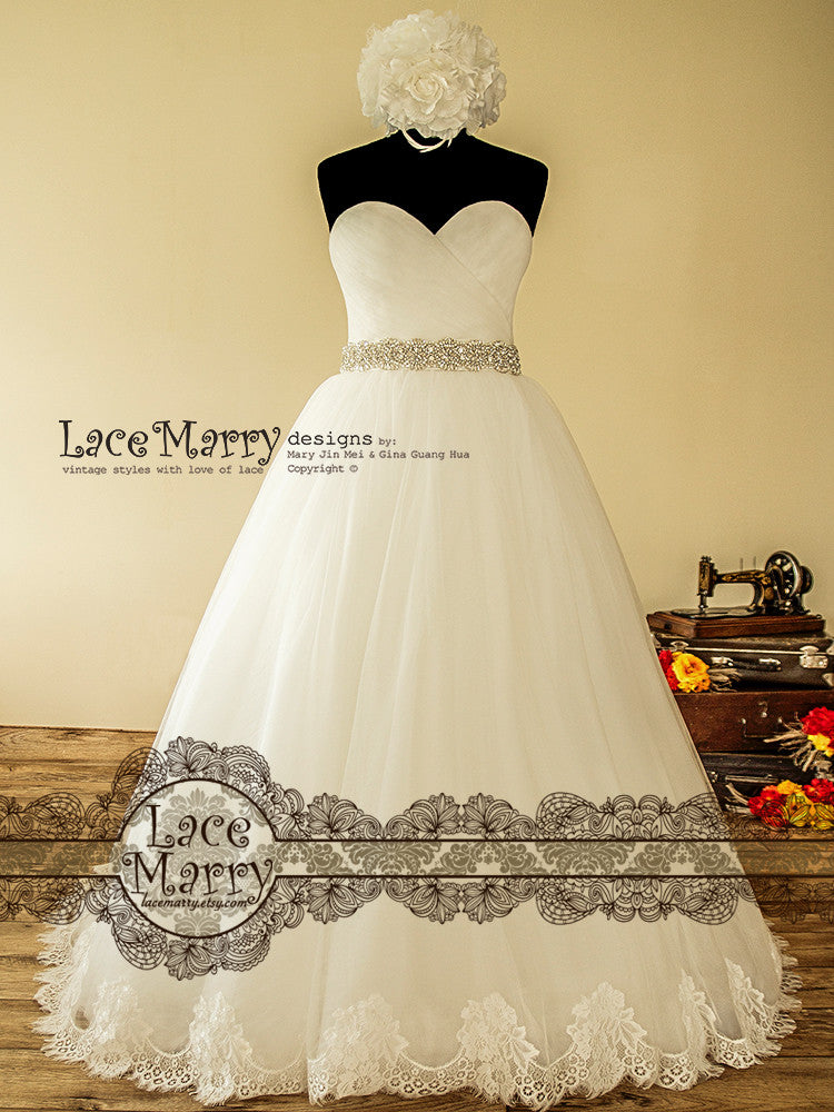 Ball Gown Wedding Dress With Chantilly Lace Hem Lacemarry