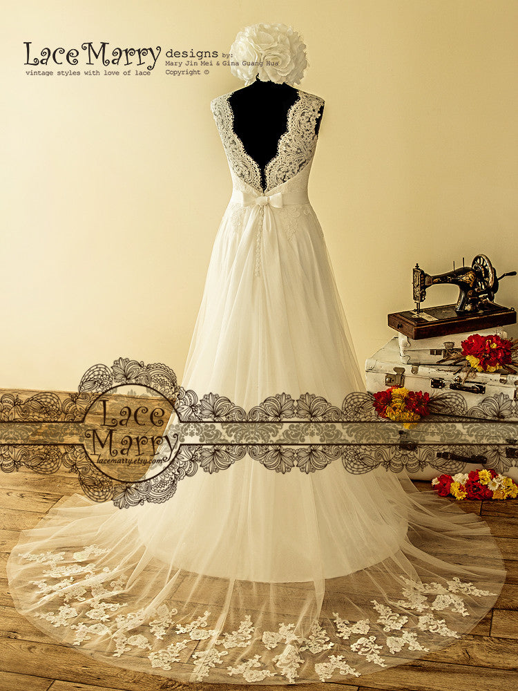 Wedding Dress with Sheere Lace Train