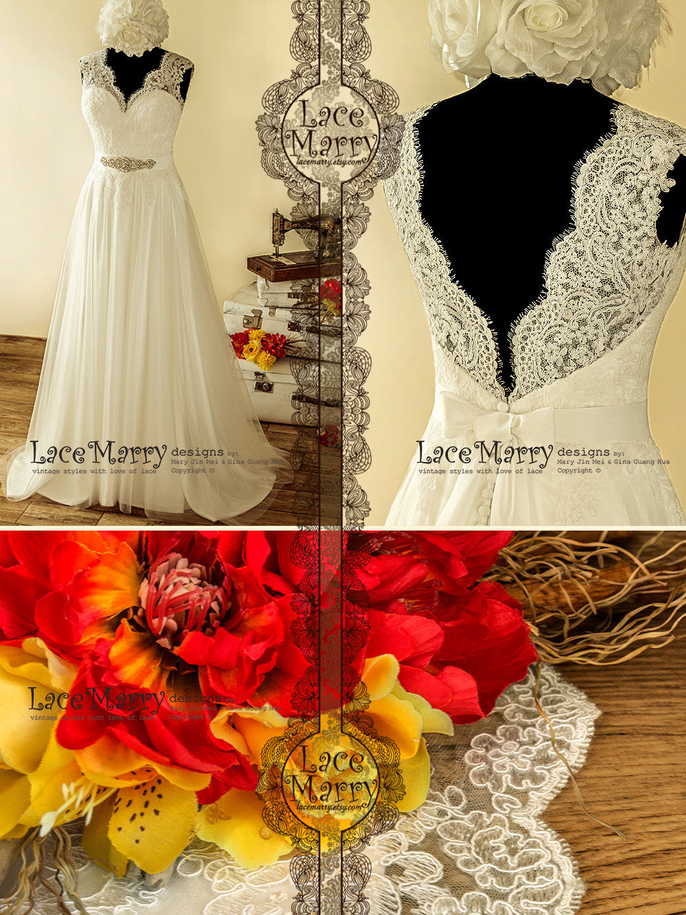 Custom Made Bohemian Lace Wedding Dress
