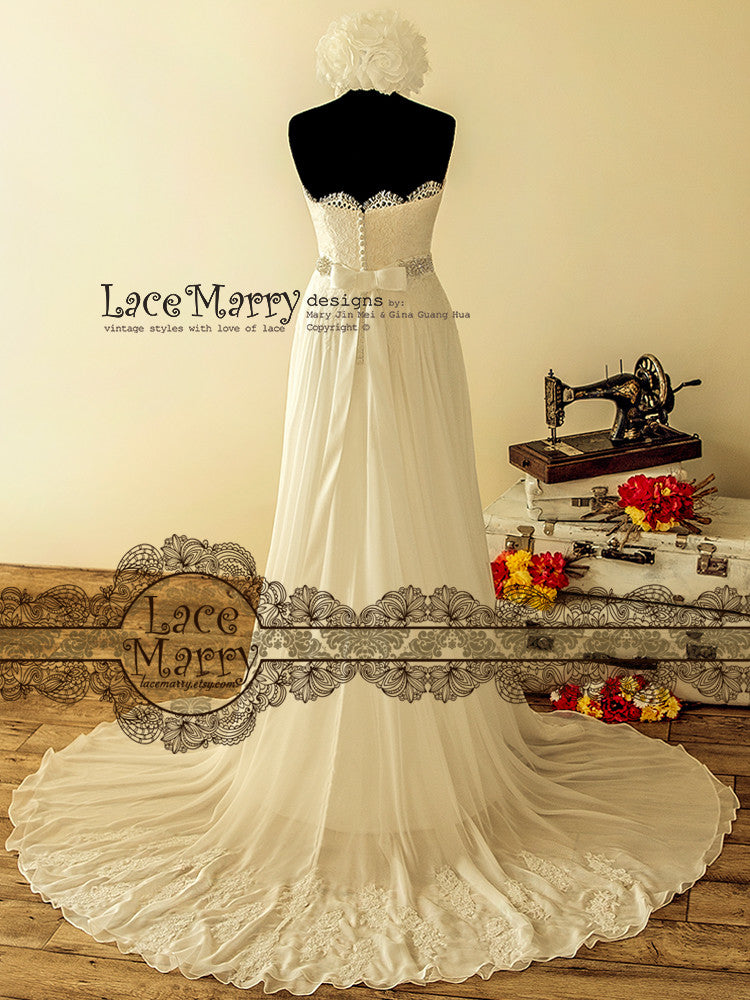 Wedding Dress with Lace Flower Aplique on Train