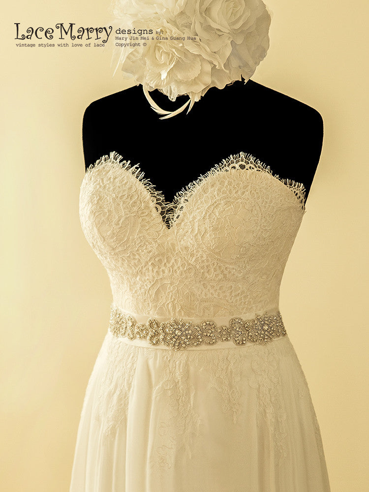 Sweetheart Neckline Lace Bohemian Wedding Dress
