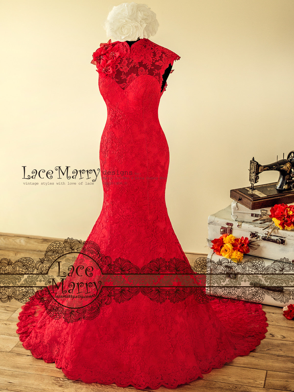 Red Trumpet Wedding Dresses