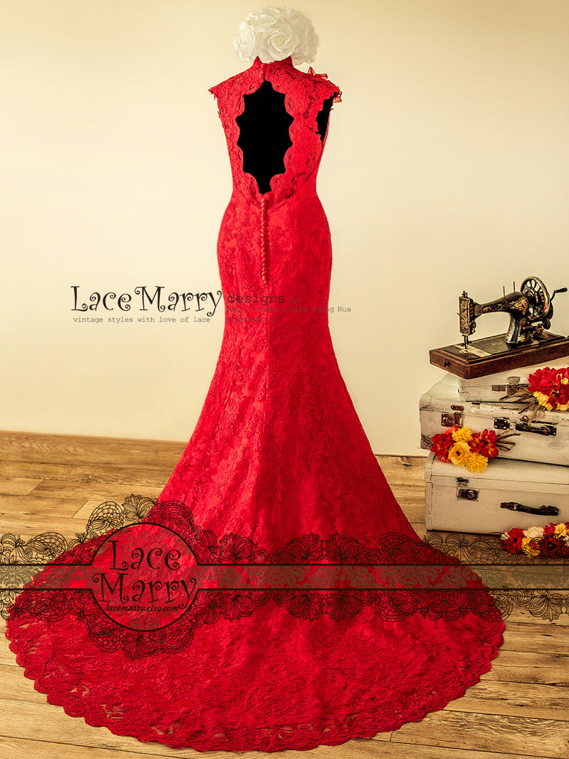 Red Lace Trumpet Wedding Dress