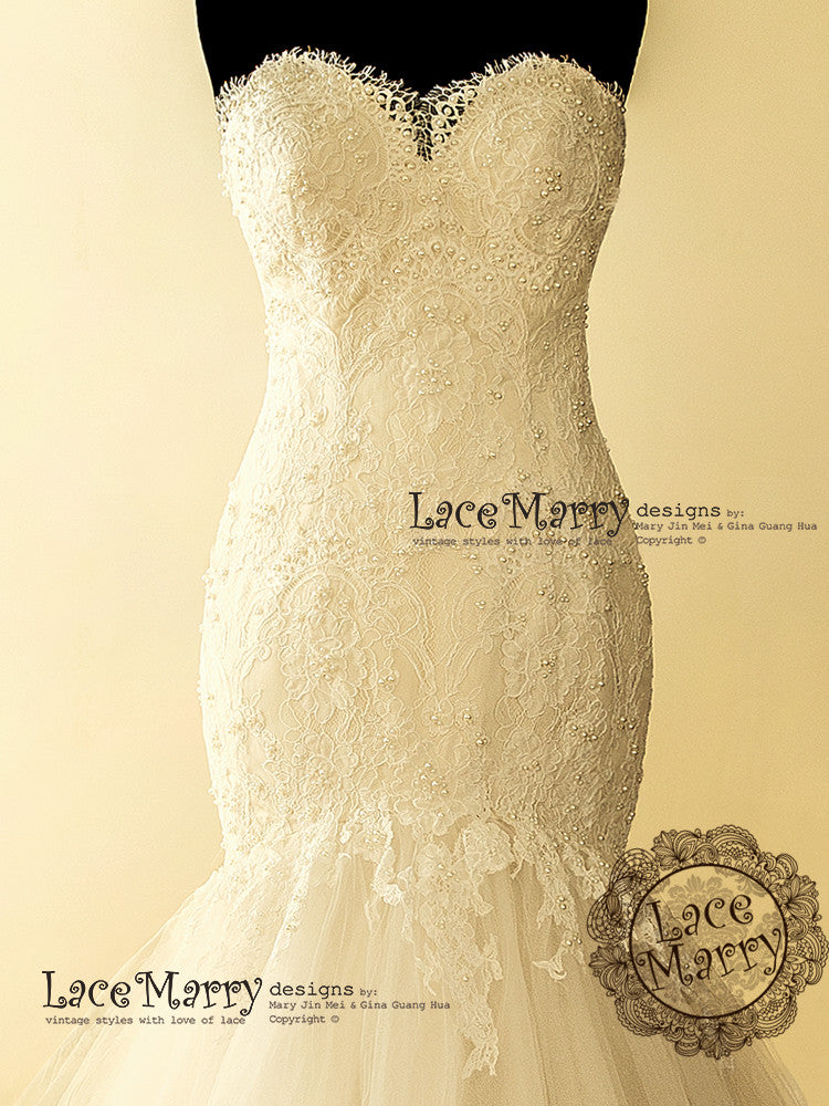 Exquisite Alencon kind of Floral Lace Applique Wedding Dress