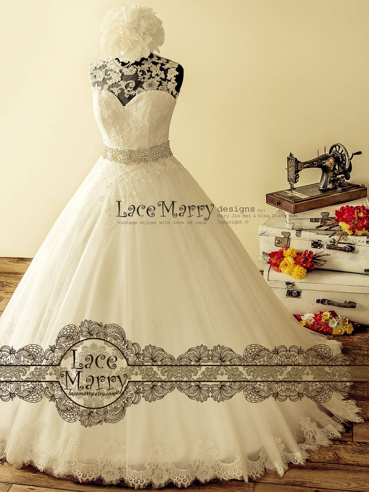 Gorgeous Ball Gown Lace Wedding Dress