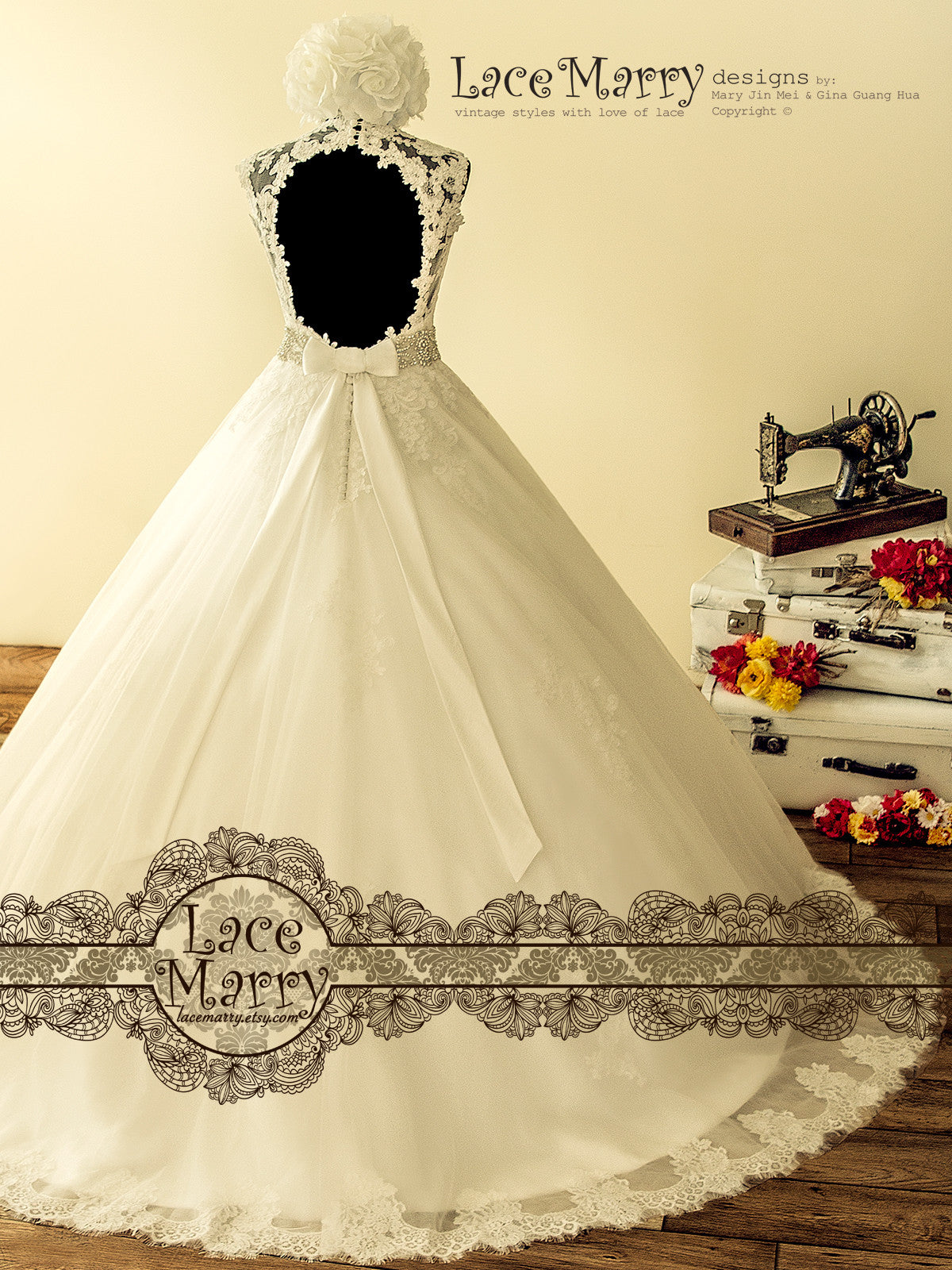 Keyhole Back Ball Gown Wedding Dress