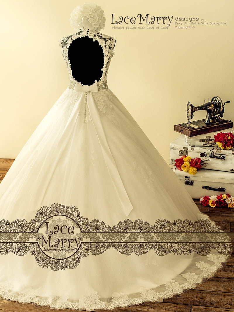 Exclusive Alencon Lace Ball Gown Wedding Dress