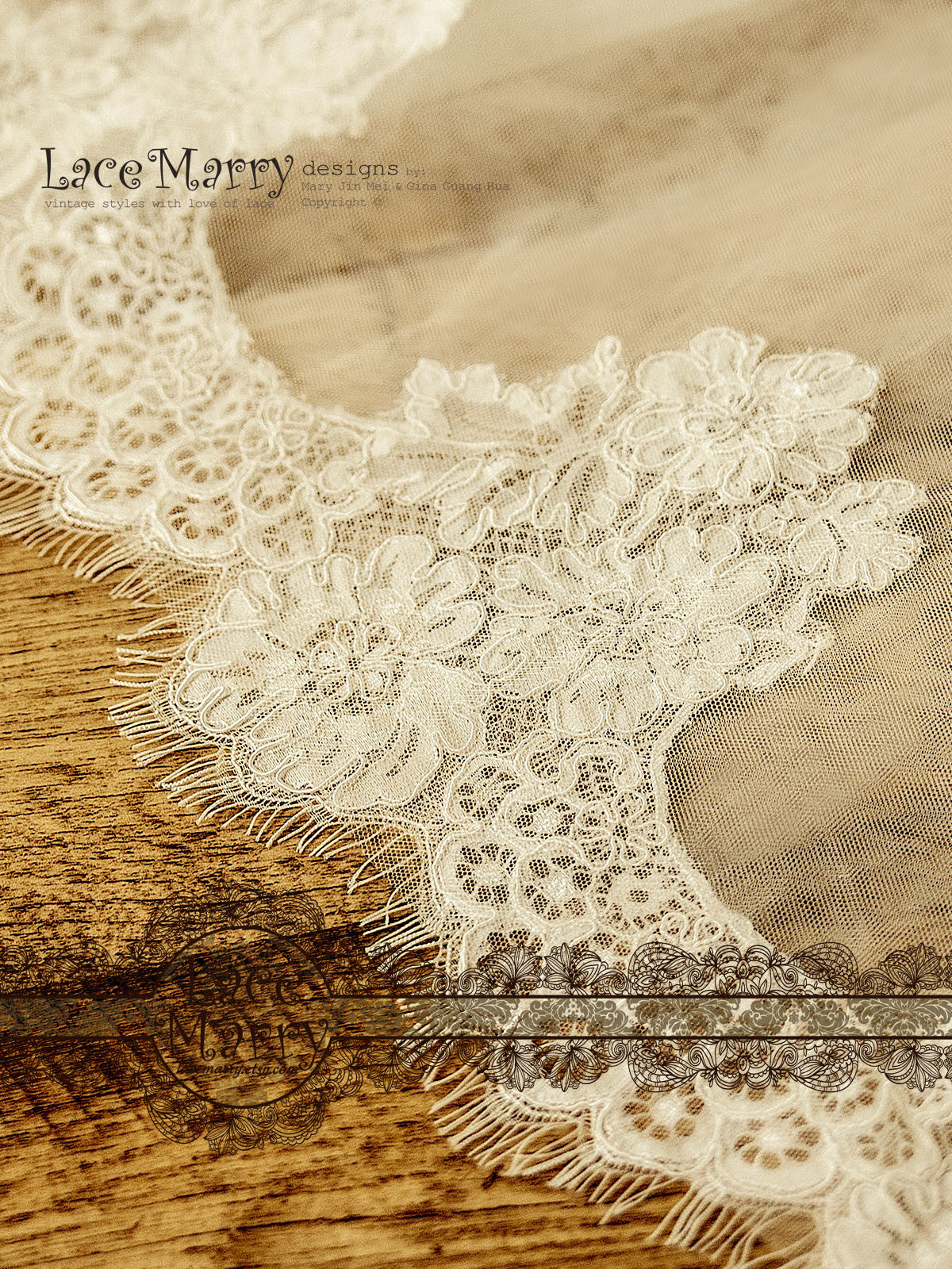 Alencon Lace Wedding Dress with Train