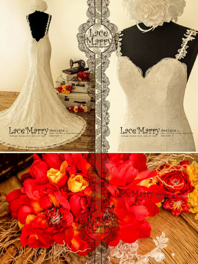 Excellent Lace Wedding Dress in Trumpet Shape