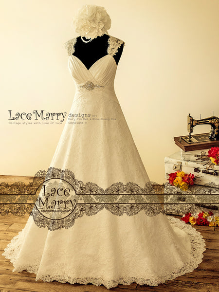 Wide A-Line Lace Wedding Dress