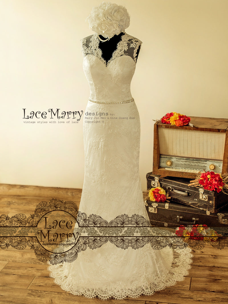 Delicate Lace Wedding Dress with Illusion V Neckline
